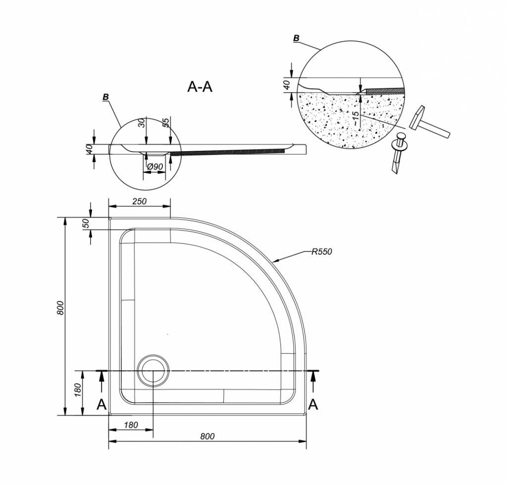 CERSANIT - Sprchová vanička TAKO 80x4, štvrťkruh CW (S204-001)