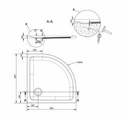 Sprchová vanička TAKO 80x4, štvrťkruh CW (S204-001), fotografie 2/2