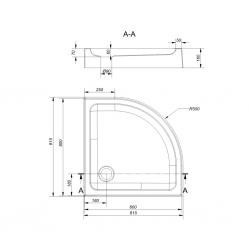 Sprchová vanička TAKO 80x16, štvrťkruh, BUILT-IN-PANEL CW (S204-003), fotografie 2/2