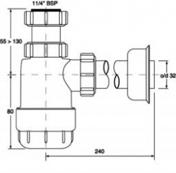 CERSANIT - Umyvadlový sifon - Nízká lahvově HC2 (K97-125), fotografie 2/1