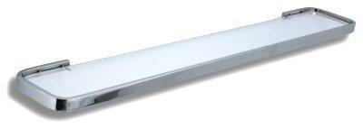 NOVASERVIS - Polička zaoblená pieskované sklo  Metalia 4 chróm (6440,0S)