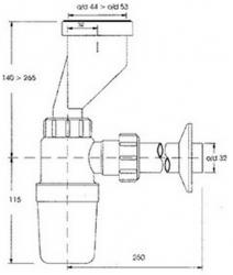 CERSANIT - Pisoárový sifón - fľaškový (K97-016), fotografie 2/1