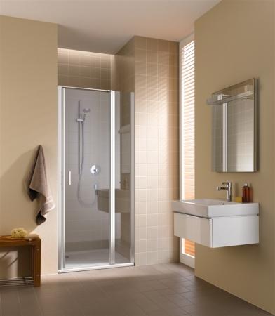 Kermi Kyvné dvere Cada XS 1GR 08020 760-810 / 2000 strieborná vys.lesk ESG číre Clean 1-krídlové kyvné dvere s pev. poľom pánty vpravo (CC1GR08020VPK)
