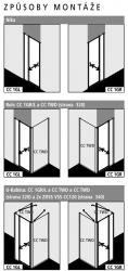 Kermi Kyvné dvere Cada XS 1GR 08020 760-810 / 2000 strieborná vys.lesk ESG číre Clean 1-krídlové kyvné dvere s pev. poľom pánty vpravo (CC1GR08020VPK), fotografie 10/9