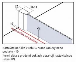 Kermi Kyvné dvere Cada XS 1GR 08020 760-810 / 2000 strieborná vys.lesk ESG číre Clean 1-krídlové kyvné dvere s pev. poľom pánty vpravo (CC1GR08020VPK), fotografie 16/9