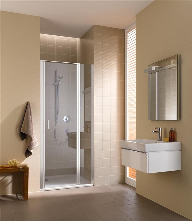 Kermi Kyvné dvere Cada XS 1GR 09020 860-910 / 2000 strieborná vys.lesk Serig.CC Clean 1-krídlové kyvné dvere s pev. poľom pánty vpravo (CC1GR09020VVK)