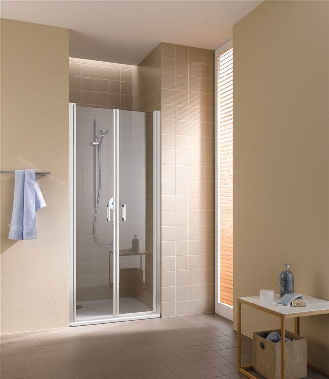 Kermi Kyvné dvere Cada XS PTD 09020 860-910 / 2000 strieborná vys.lesk ESG číre Clean Kyvné dvere CCPTD09020VPK