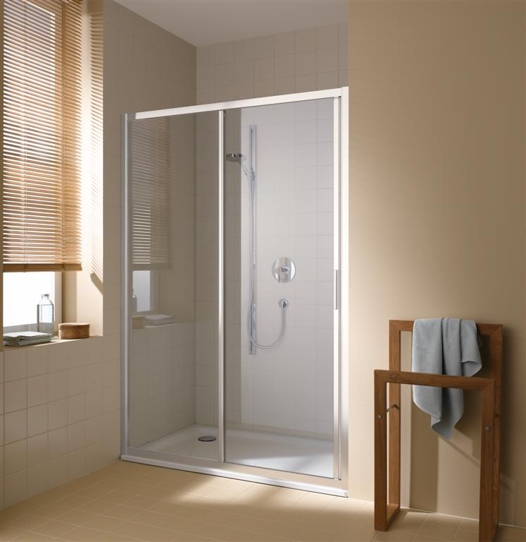 Kermi Posuvné dvere Cada XS G2R 11620 1130-1170 / 2000 biela ESG číre Clean 2-dielne posuvné dvere s pevným poľom pevné pole vpravo (CCG2R116202PK)