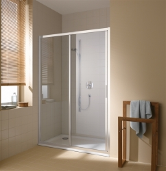 Kermi Posuvné dvere Cada XS G2R 14020 1370-1410 / 2000 strieborná vys.lesk ESG číre Clean 2-dielne posuvné dvere s pevným poľom vpravo (CCG2R14020VPK)