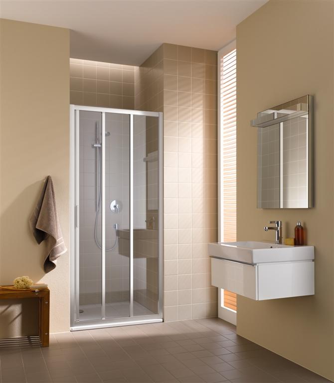 Kermi Posuvné dvere Cada XS G3R 10020 970-1010 / 2000 biela ESG číre Clean 3-dielne posuvné dvere s pevným poľom vpravo (CCG3R100202PK)