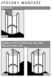 Kermi Štvrťkruh Cada XS P55 08020 775-800 / 2000 biela ESG číre Clean Štvrťkruh (kyvné dvere s pevnými poľami) (CCP55080202PK), fotografie 2/8