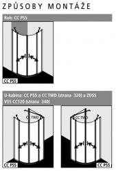 Kermi Štvrťkruh Cada XS P55 10120 975-1000 / 2000 biela ESG číre Clean Štvrťkruh (kyvné dvere s pevnými poľami) (CCP55101202PK), fotografie 2/8