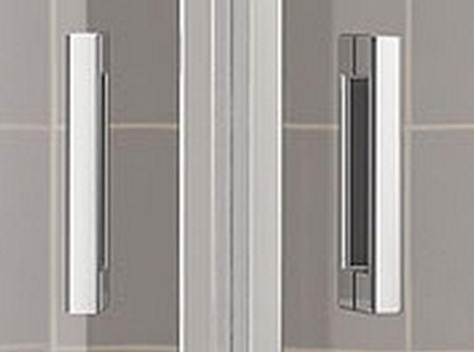 Kermi Štvrťkruh Cada XS P55 08020 775-800 / 2000 strieborná vys.lesk ESG číre Clean Štvrťkruh (kyvné dvere s pevnými poľami) (CCP5508020VPK)