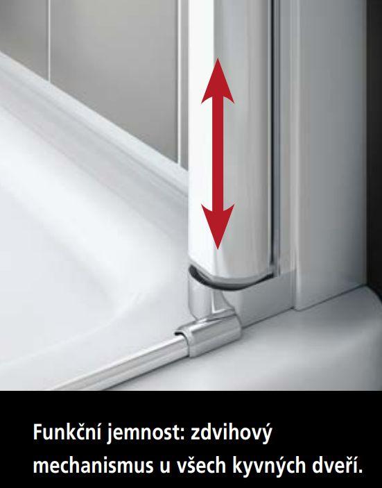 Kermi Štvrťkruh Cada XS P55 09020 875-900 / 2000 strieborná vys.lesk ESG číre Clean Štvrťkruh (kyvné dvere s pevnými poľami) (CCP5509020VPK)