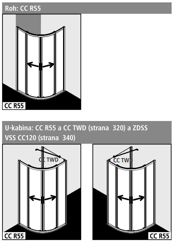 Kermi Štvrťkruh Cada XS R55 08020 775-800 / 2000 strieborná vys.lesk ESG číre Clean Štvrťkruh (posuvné dvere) (CCR5508020VPK)