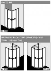 Kermi Štvrťkruh Cada XS R55 09020 875-900 / 2000 strieborná vys.lesk ESG číre Clean Štvrťkruh (posuvné dvere) (CCR5509020VPK), fotografie 2/6