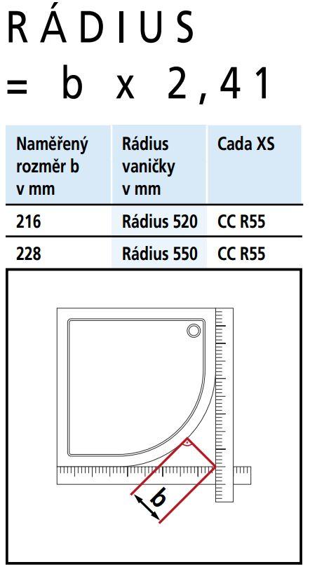 Kermi Štvrťkruh Cada XS R55 09020 875-900 / 2000 strieborná vys.lesk ESG číre Clean Štvrťkruh (posuvné dvere) (CCR5509020VPK)