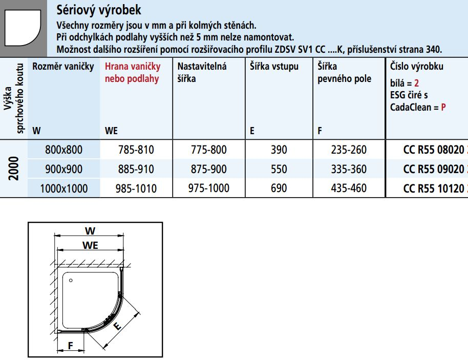 Kermi Štvrťkruh Cada XS R55 10120 975-1000x2000 strieborná vys.lesk ESG číre Clean Štvrťkruh (posuvné dvere) (CCR5510120VPK)