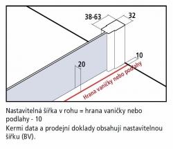 KERMI - Cada XS Walk-in WALL šírka 1200 mm výška 2000 mm (CCTWF120202VK), fotografie 6/4