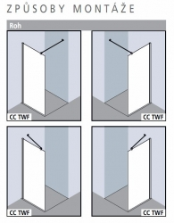 KERMI - Cada XS Walk-in WALL šírka 1200 mm výška 2000 mm (CCTWF120202VK), fotografie 8/4