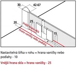Kermi Kyvné dvere Filia XP 1WR 09020 875-900 / 2000 strieborná vys.lesk ESG číre Clean 1-krídlové kyvné dvere s pevným poľom pre bočnú stenu / skrátenú bočnú stenu (FX1WR09020VPK), fotografie 10/8