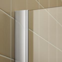 Kermi Štvrťkruh Filia XP P55 09020 875-900 / 2000 strieborná vys.lesk ESG číre Clean Čtvrtkruhový spŕch. kút kývne dvere s pevnými poľami (FXP5509020VPK), fotografie 2/9