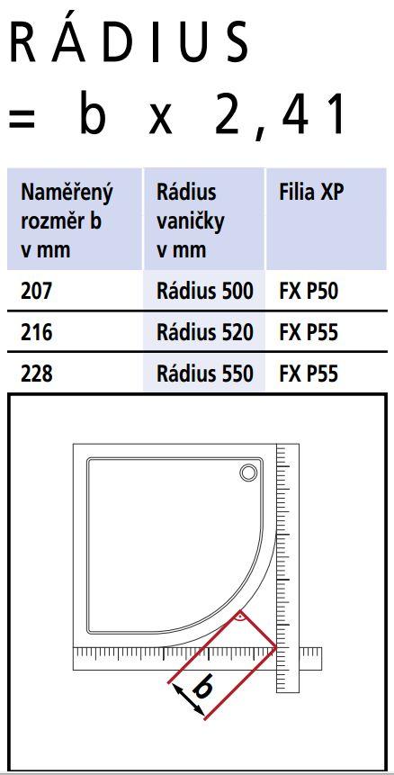 Kermi Štvrťkruh Filia XP P50 10020 975-1000x2000 strieborná vys.lesk ESG číre Clean Čtvrtkruhový spŕch. kút kývne dvere s pevnými poľami (FXP5010020VPK)