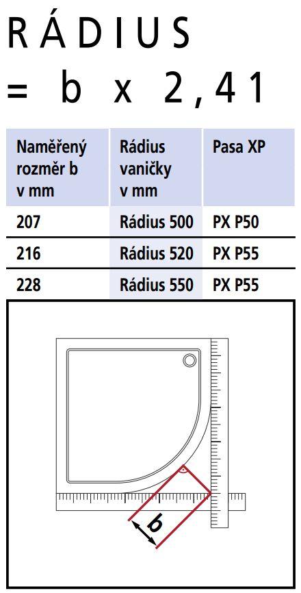 Kermi Štvrťkruh Pasa XP P50 09018 870-900 / 1850 strieborná matná ESG číre Čtvrtkruhový spŕch. kút kývne dvere s pevnými poľami (PXP50090181AK)