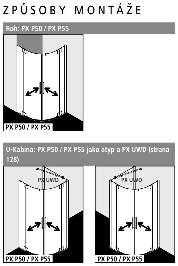 Kermi Štvrťkruh Pasa XP P55 10118 970-1000 / 1850 strieborná matná ESG číre Štvrťkruhový sprchovací kút kývne dvere s pevnými poľami (PXP55101181AK)