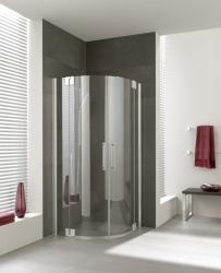 Kermi Štvrťkruh Pasa XP P55 09020 870-900 / 2000 strieborná matná ESG číre Štvrťkruhový sprchovací kút kývne dvere s pevnými poľami (PXP55090201AK)