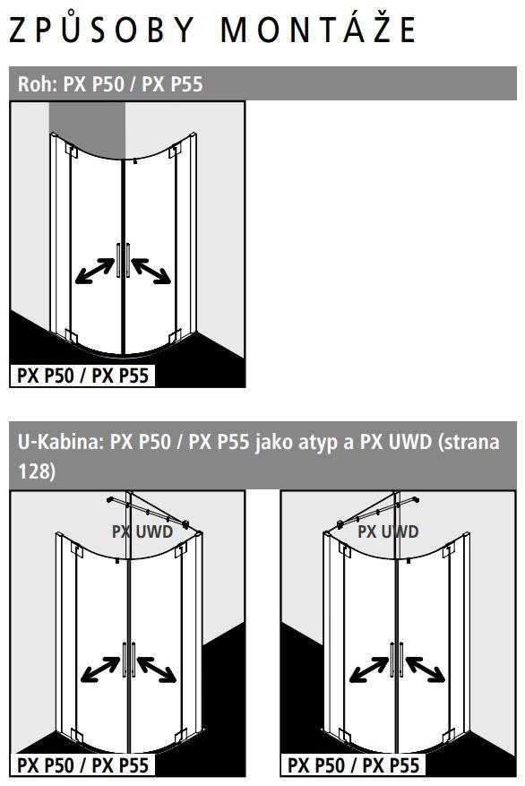 Kermi Štvrťkruh Pasa XP P50 10020 970-1000x2000 strieborná matná ESG číre Štvrťkruhový sprchovací kút kývne dvere s pevnými poľami (PXP50100201AK)