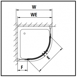 Kermi Štvrťkruh Pasa XP P55 10120 970-1000x2000 strieborná matná ESG číre Štvrťkruhový sprchovací kút kývne dvere s pevnými poľami (PXP55101201AK), fotografie 12/7