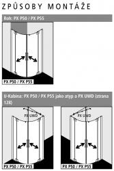 Kermi Štvrťkruh Pasa XP P55 09018 870-900 / 1850 strieborná vys.lesk ESG číre Štvrťkruhový sprchovací kút kývne dvere s pevnými poľami (PXP5509018VAK), fotografie 6/7
