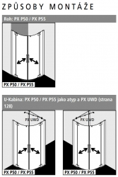 Kermi Štvrťkruh Pasa XP P55 09020 870-900 / 2000 strieborná vys.lesk ESG číre Štvrťkruhový sprchovací kút kývne dvere s pevnými poľami (PXP5509020VAK), fotografie 6/7