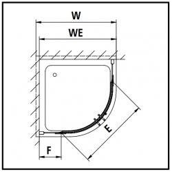Kermi Štvrťkruh Pasa XP P55 09020 870-900 / 2000 strieborná vys.lesk ESG číre Štvrťkruhový sprchovací kút kývne dvere s pevnými poľami (PXP5509020VAK), fotografie 12/7