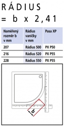 Kermi Štvrťkruh Pasa XP P55 09020 870-900 / 2000 strieborná vys.lesk ESG číre Štvrťkruhový sprchovací kút kývne dvere s pevnými poľami (PXP5509020VAK), fotografie 14/7
