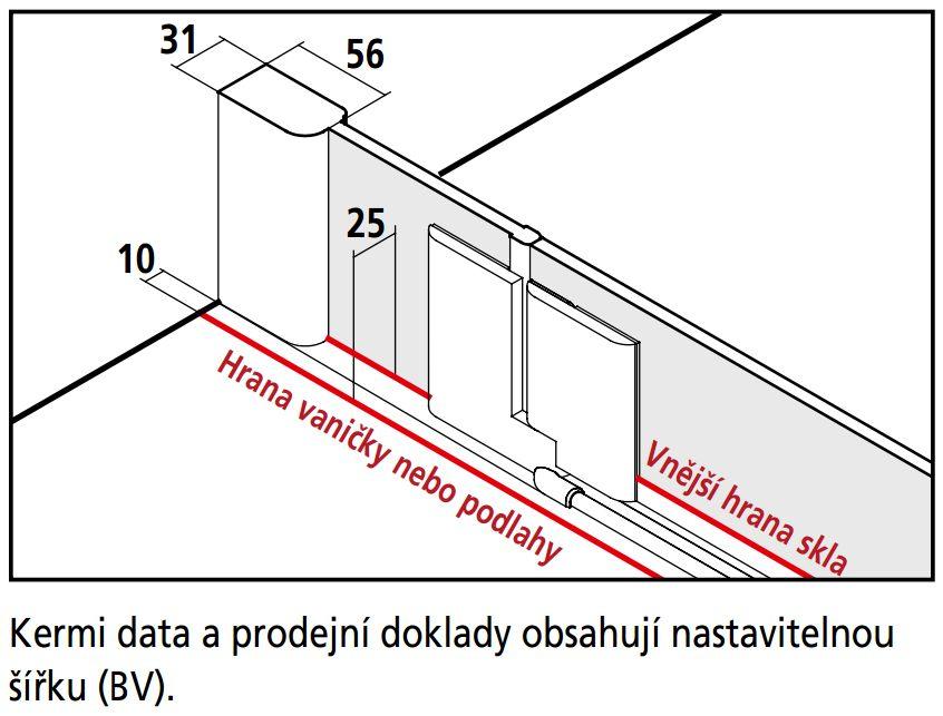 Kermi Štvrťkruh Pasa XP P55 09018 870-900 / 1850 strieborná matná ESG číre Clean Štvrťkruhový sprchovací kút kývne dvere s pevnými poľami (PXP55090181PK)