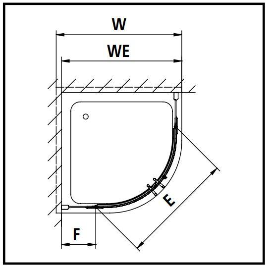 Kermi Štvrťkruh Pasa XP P50 09020 870-900 / 2000 strieborná matná ESG číre Clean Štvrťkruhový sprchovací kút kývne dvere s pevnými poľami (PXP50090201PK)