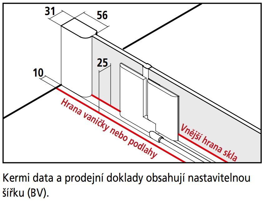 Kermi Štvrťkruh Pasa XP P55 09020 870-900 / 2000 strieborná matná ESG číre Clean Štvrťkruhový sprchovací kút kývne dvere s pevnými poľami (PXP55090201PK)