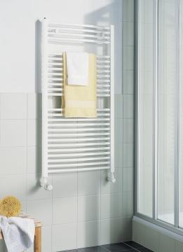 KERMI - LR01M0800502XXK / B-20 RM, koupelnový radiátor zahnutý, se středovým připojením    800x500mm, bílá