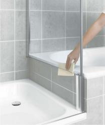 Kermi Bočná stena Pasa XP TVD 07516 720-750 / 1600 strieborná matná ESG číre Clean bočná stena skrátená vedľa vane (PXTVD075161PK)