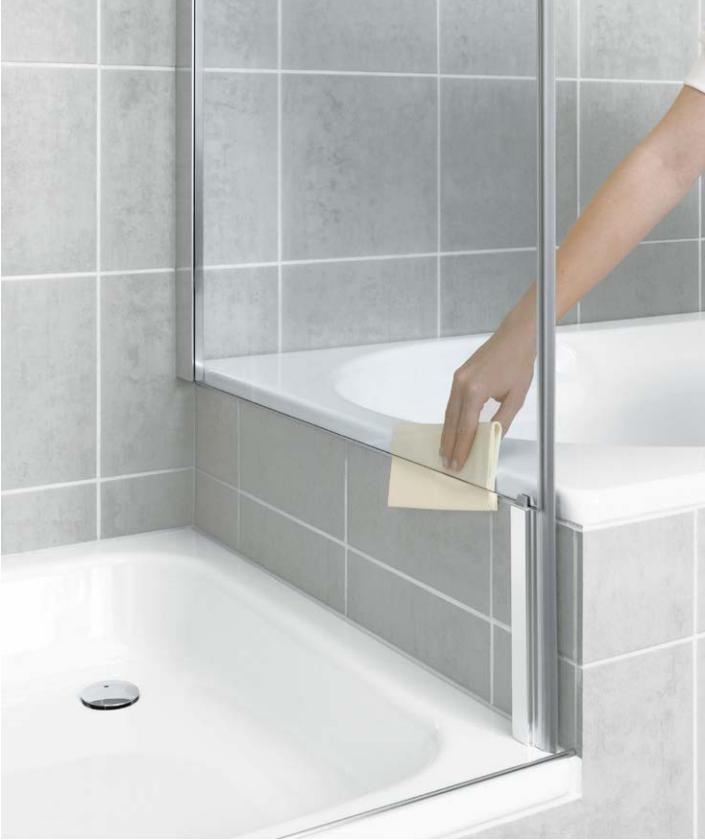 Kermi Bočná stena Pasa XP TVD 10017 970-1000 / 1750 strieborná matná ESG číre Clean bočná stena skrátená vedľa vane (PXTVD100171PK)