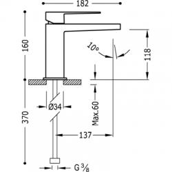 TRES SLIM EXCLUSIVE Umývadlová jednopáková batéria kartáčovaná oceľ (20210301ACD), fotografie 2/4