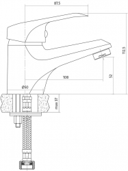 CERSANIT - Umývadlová batéria AMET jednopáková, jednootvorová, stojančeková, s pevným výtokovým ramienkom, CHROM, s výpusťou plastovou (S951-041), fotografie 4/3