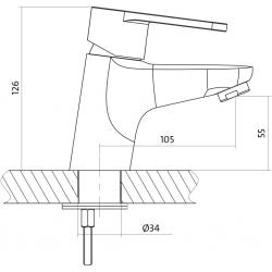 CERSANIT - Umývadlová batéria CARI jednopáková, jednootvorová, stojančeková, s pevným výtokovým ramienkom, CHROM, s výpusťou plastovou (S951-040), fotografie 4/3