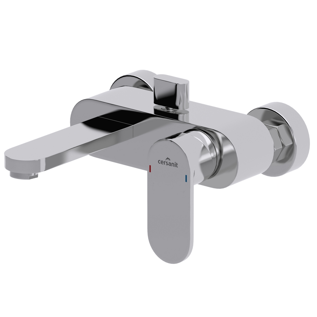 CERSANIT - Vaňová batéria so sprchou ELIO jednopáková, tříotvorová, nástenná, s pevným výtokovým ramienkom, s prepínačom, chróm (S951-007)