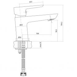 CERSANIT - Umývadlová batéria MILLE jednopáková, jednootvorová, stojančeková, s pevným výtokovým ramienkom, CHROM, s výpusťou kovovou (S951-045), fotografie 4/3