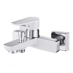CERSANIT - Vaňová batéria so sprchou MILLE jednopáková, tříotvorová, nástenná, s pevným výtokovým ramienkom, s prepínačom, chróm / BIELA (S951-008)