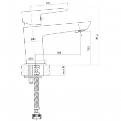 CERSANIT - Umývadlová batéria MILLE jednopáková, jednootvorová, stojančeková, s pevným výtokovým ramienkom, CHROM / BIELA, s výpusťou kovovou (S951-047), fotografie 4/3