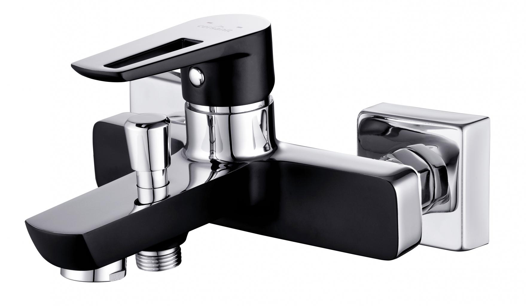 CERSANIT - Vaňová batéria so sprchou MILLE jednopáková, tříotvorová, nástenná, s pevným výtokovým ramienkom, s prepínačom, chróm / ČIERNA (S951-009)